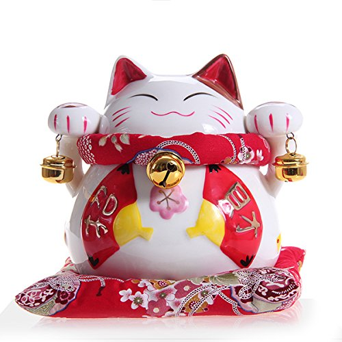 White Ceramic Maneki Neko Money Lucky Cat