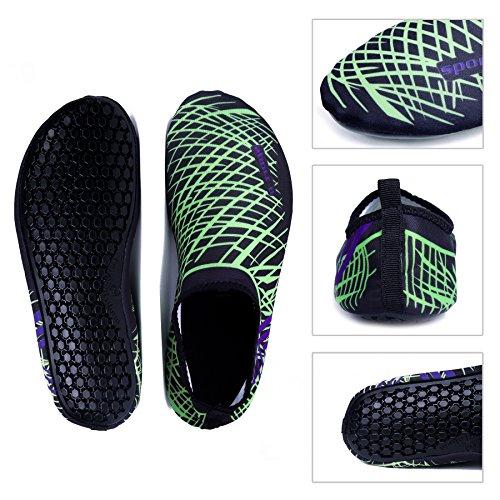 WONZOM FASHION Männer Frauen Paar Multifunktionale Haut Schuhe Leichte Barfuß Sneaker Quick-Dry Wasser Sportschuhe für Beach Pool Grün