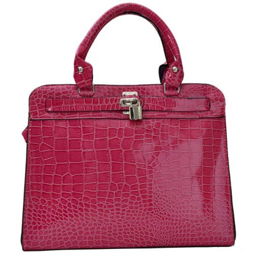 Patent Croc Eyecatch Ladies Bag Fushia Allegra Satchel HqqOtErx4w