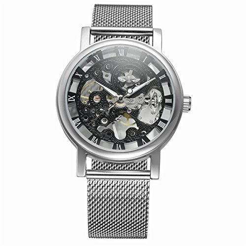 Logo Watch Round (WINNER Silver Steel Transparent Case Roman Dial 3D Logo Engraving Men Mechanical Watches Top Luxury Skeleton Wristwatch)