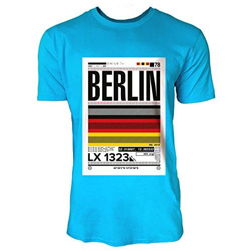 SINUS ART ® Print mit abstrakter Deutschlandflagge – Berlin Herren T-Shirts in Karibik blau Cooles Fun Shirt mit tollen Aufdruck