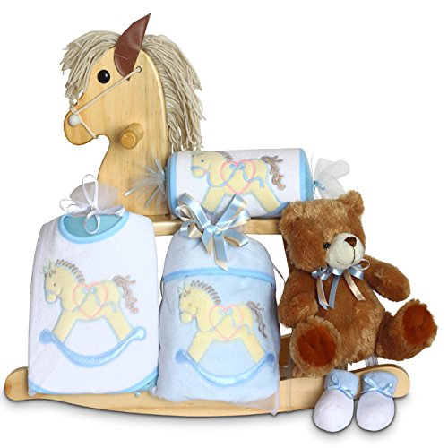 Childs Natural Wood Rocking Horse - Silly Phillie Natural Wood Rocking Horse Baby Boy Gift Set