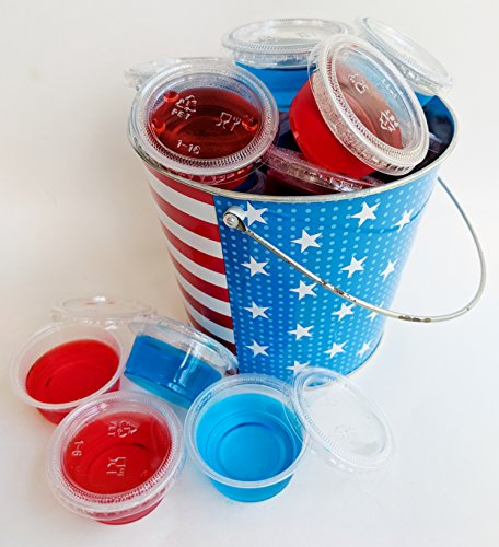 - Patriotic Jolly Rancher Jell-O Shot Starter Kit Bundle - 6 ITEMS - 50 Count Plastic Jello Shot Cups with Lids, (2) Red Cherry Gelatin Jello, (2) Blue Rasberry Getatin Jello, Stars and Stripes Bucket