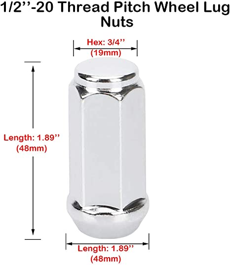 Conical Seat 60 Degree Total Length 1.72 3//4 or 19mm hex//Wrench 20pcs Wheel Lug Nuts 1//2-20 Width//Diameter 0.90,Bulge Acorn Long Heat Treated Chrome Lug Nuts Set