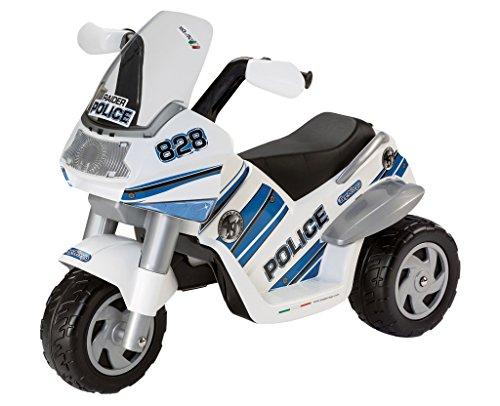 Peg Perego ED0910 - Elektro-Motorrad Raider 6V Polizei weiß/blau