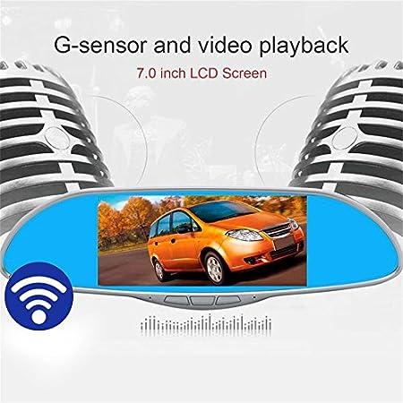 Pantalla LCD de 7.0 pulgadas HD 1080P Espejo retrovisor del coche DVR Cámara del coche Monitor de estacionamiento Navigator Detección de movimiento 170 ...