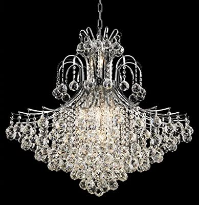 "Elegant Lighting 8005G31C/Rc Royal Cut Clear Crystal Toureg 15-Light, Two-Tier Crystal Chandelier, Finished In Chrome With Clear Crystals, 31"" x 35"""