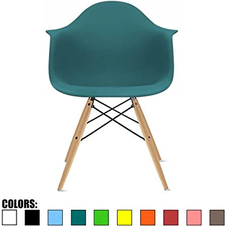 2xhome – Single Dining Arm Chair Set, White, Solid Wood Nature Brown Legs, Chair with Arm Chair Molded Plastic Shell with Eiffel Dowel-Legs Teal