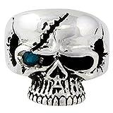Scarface Bandit Skull Aqua Blue Cubic Zirconia One Eye