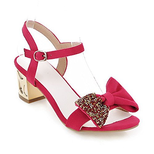 Womens Frosted Heel AmoonyFashion Toe Bowknot Open with Diamond Sandals Glass PU Kitten Peach and Solid IwBYq4dYx