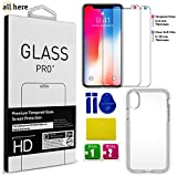 """iphone x case tempered glass screen protector – our gift """"soft film screen protector"""" Reinforced TPU case 1.2 mm thickness, Full Coverage [3D Touch] 0.33 mm 9H Hardness HD clear"""
