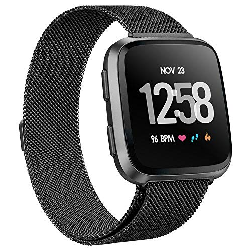 Stainless Steel Metal Band - KIMILAR Metal Bands Compatible Fitbit Versa Smartwatch, Women Men Small Large Stainless Steel Replacement Sport Bracelet Strap Magnet Lock Wristbands Silver Black Rose Gold Lavender