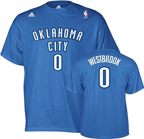 100% authentic f47b7 b140e Russell Westbrook adidas Blue Name and Number Oklahoma City Thunder T-Shirt