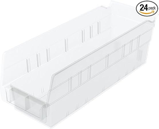 Red Case of 12 Akro-Mils 30124 24-Inch by 4-Inch by 4-Inch Plastic Nesting Shelf Bin Box