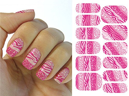 Full Wrap Nail Art Water Transfer Decal Sticker Pink Zebra Animal Print Nail Sticker Tattoo - FashionDancing