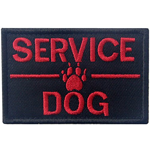 Service Dog with Tracker Paw Embroidered Applique Morale Hook & Loop Patch - Red