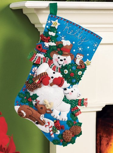 Bucilla Felt Applique Christmas Stocking Kit: Snow Friends by Bucilla