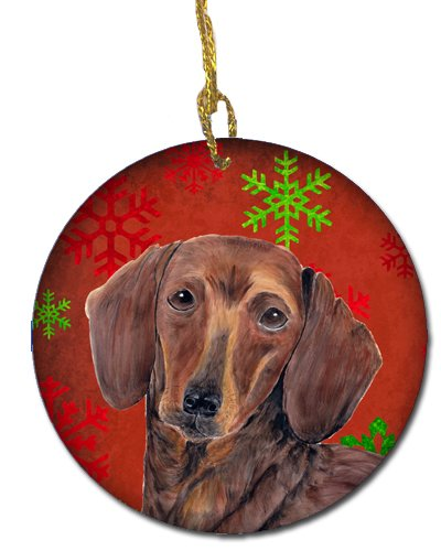 Carolines Treasures SC9408-CO1 Dachshund Red Snowflakes Holiday Christmas Ceramic Ornament Multicolor