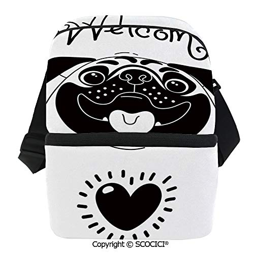 SCOCICI Cooler Bag Cute Black and White Dog with Welcome Word Over its Hospitality Happiness Image Decorative Insulated Lunch Bag for Men Women for Kayak,Beach,Travel,Work,Picnic,Grocery