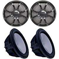 Wet Sounds Two Revo 10 Subwoofers & Grills - Black Subwoofers & Black Closed Face SW Grills - 4 Ohm
