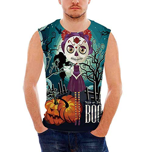 Halloween Mens Comfort Cotton Tank Top,Cartoon Girl with Sugar Skull Makeup -