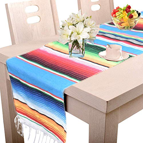 Amajoy14 x 84 inch Mexican Serape Table Runner for Mexican Party Wedding Decorations Fringe Cotton Table Runner Mexican Blanket