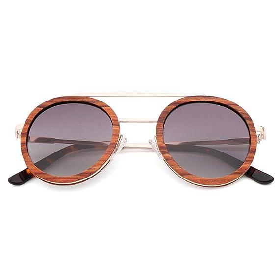 DelongKe Gafas de Sol de Madera polarizadas para Hombres y ...