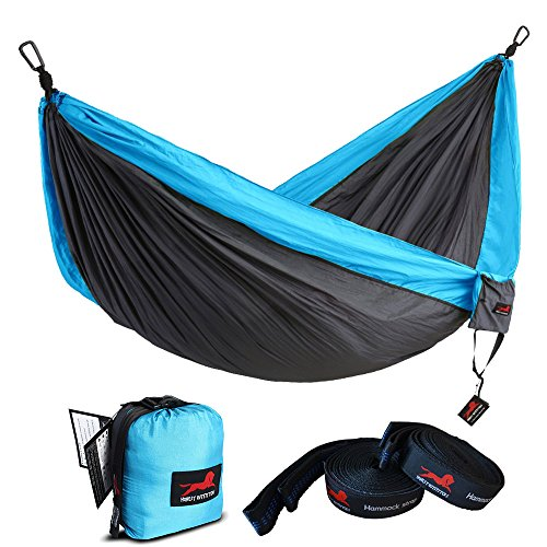 "Honest Outfitters Single Camping Hammock With Basic Hammock Tree Straps,Portable Parachute Nylon Hammock for Backpacking travel Grey/Blue 55""W x 108""L"