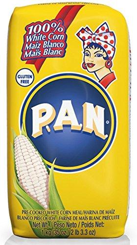 P.A.N. Pre-cooked White Corn Meal 2 lb 3.3 oz (35oz/1kg) Harina de Maiz Blanca (4 packs) by PAN