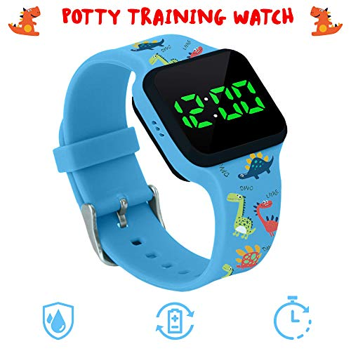 Potty Training Timer Watch with Flashing Lights and Music Tones – Water Resistant, Rechargeable, Dinosaur Pattern Colorful Band, Discreet, Smart Sensor, Potty Training Watch