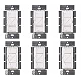 Lutron PD-6WCL-WH Caseta Wireless Smart Lighting Dimmer Switch, White (6 Pack)