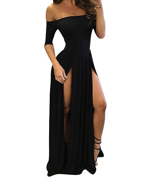 best service d714f 47984 Donna Fuori dalla Spalla Manica Corta Vestito Lungo Puro Colore Abito-Spacco