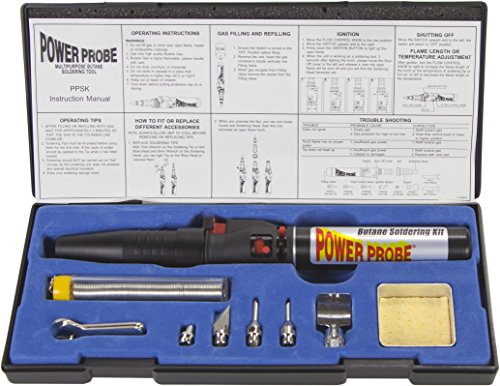 POWER PROBE Butane Soldering Kit (PPSK) [Automotive Diagnostic Car Test Tool, Easy Start Electronic Ignition, Adjustable Flame, with Multiple Tips, Black