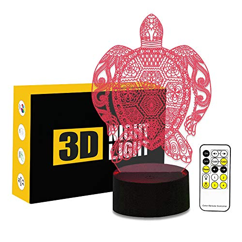 (Circle Circle Sea Turtle 3D Optical Illusion Lamp 7 Colors Change and 15 Keys Remote Control LED Table Desk Lamp for Home Bedroom Decoration)