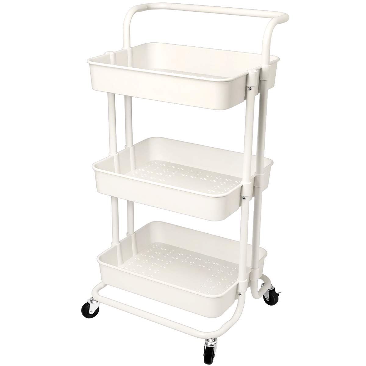 Homemaxs 3 Tier Utility Cart - Heavy Duty Rolling Cart with Handles and Roller Wheels Storage Cart for Kitchen, Coffee Bar, Microwave Cooking Station, Storage, Office, Bathroom (White)