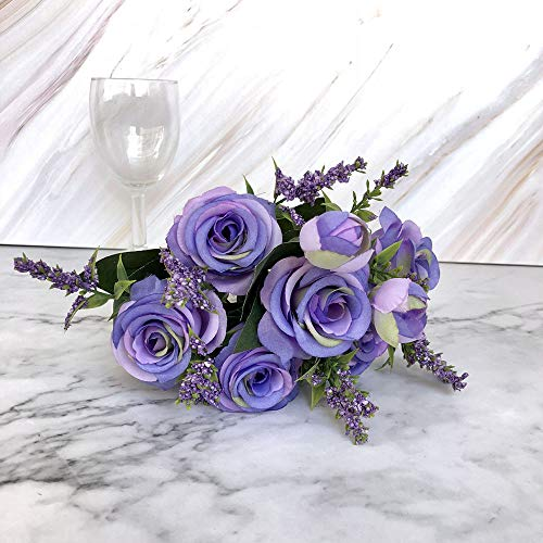 Gotian 30cm Artificial Fake Blooming Rose Flower Bridal Bouquet Wedding Party Home Decor (Purple2)