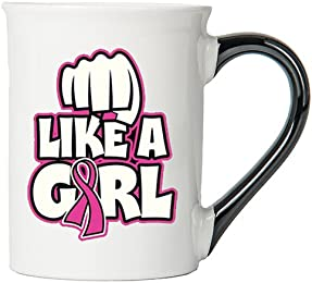 Cancer Awareness Mug; Fight Like A Girl; Cancer Awareness Coffee Cup By Tumbleweed