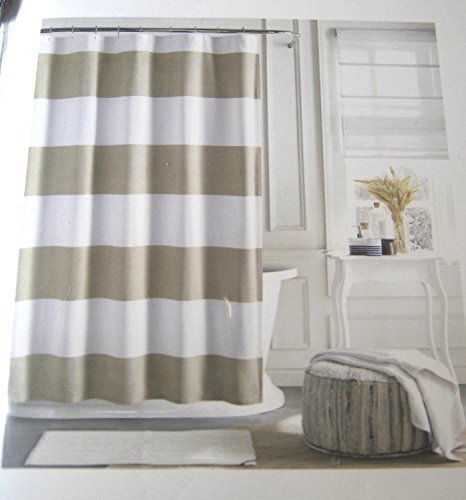 - Tommy Hilfiger Cabana Stripe Shower Curtain - Tan and White -72
