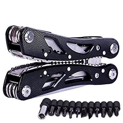 Stainless Steel Multitool Folding Plier, Suspension Multipurpose Outdoor Survival Portable 11 In 1 Non Slip Pocket Multi Tool With Pincers/Screwdriver Black from Generic
