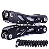 Stainless Steel Multitool Folding Plier, Suspension Multipurpose Outdoor Survival Portable 11 In 1 Non Slip Pocket Multi Tool With Pincers/Screwdriver Black