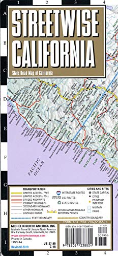 - Streetwise California Map: Laminated State Road Map of California