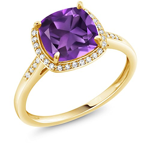 - Gem Stone King 2.05 Ct Cushion Purple Amethyst 10K Yellow Gold Ring (Size 7)