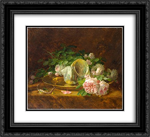 Georgios Jakobides 2X Matted 24x20 Black Ornate Framed Art Print 'Platter with Seashells, Roses, Pearls and ()
