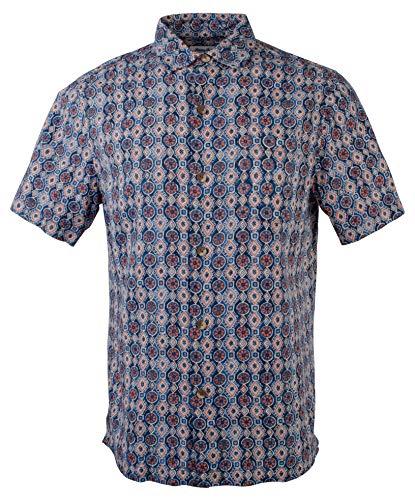 Tommy Bahama Tulum Tiles Silk Camp Shirt (Color: Ocean Deep, Size XL)
