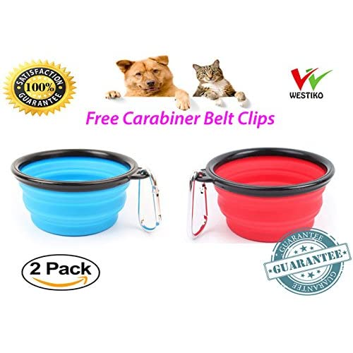 2 PCS by westiko Collapsible Dog and cats Bowls, Food Grade Silicone BPA Free FDA Approved, Foldable Expandable Cup Dish for Pet Cat Food Water Feeding Portable Travel Bowl Free Carabiners