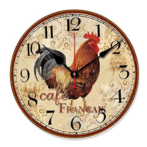 Telisha Retro Design Large Clock Rooster Chicken Cafe Home Decorative Wall Clock Wood 34CM 14