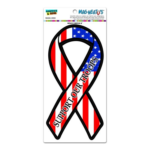 Support Our Troops Ribbon - Patriotic USA American Flag MAG-NEATO'S(TM) Automotive Car Refrigerator Locker Vinyl Magnet