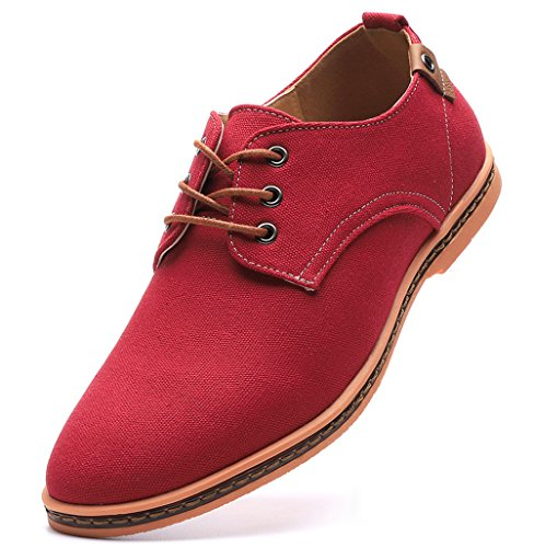 DADAWEN Men's Casual Canvas Lace Up Oxfords Shoes Red US Size 11