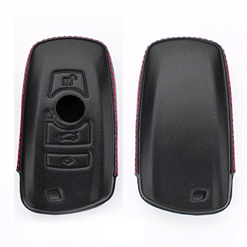 [MissBlue] Real Genuine Leather Key Case Cover For BMW, Holder Keychain Bag Protective Cover Jacket Skin Fob Remote Key Case Fits BMW X3 X4 M2 M3 M4 M5 M6 1 2 3 GT 4 5 6 Series Smart Car Key - Black