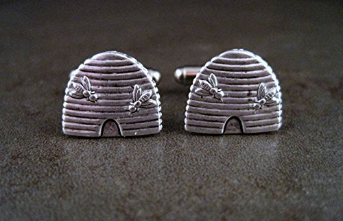 Handmade Oxidized Silver Bee Hive Cuff Links by Urban Metal Designs